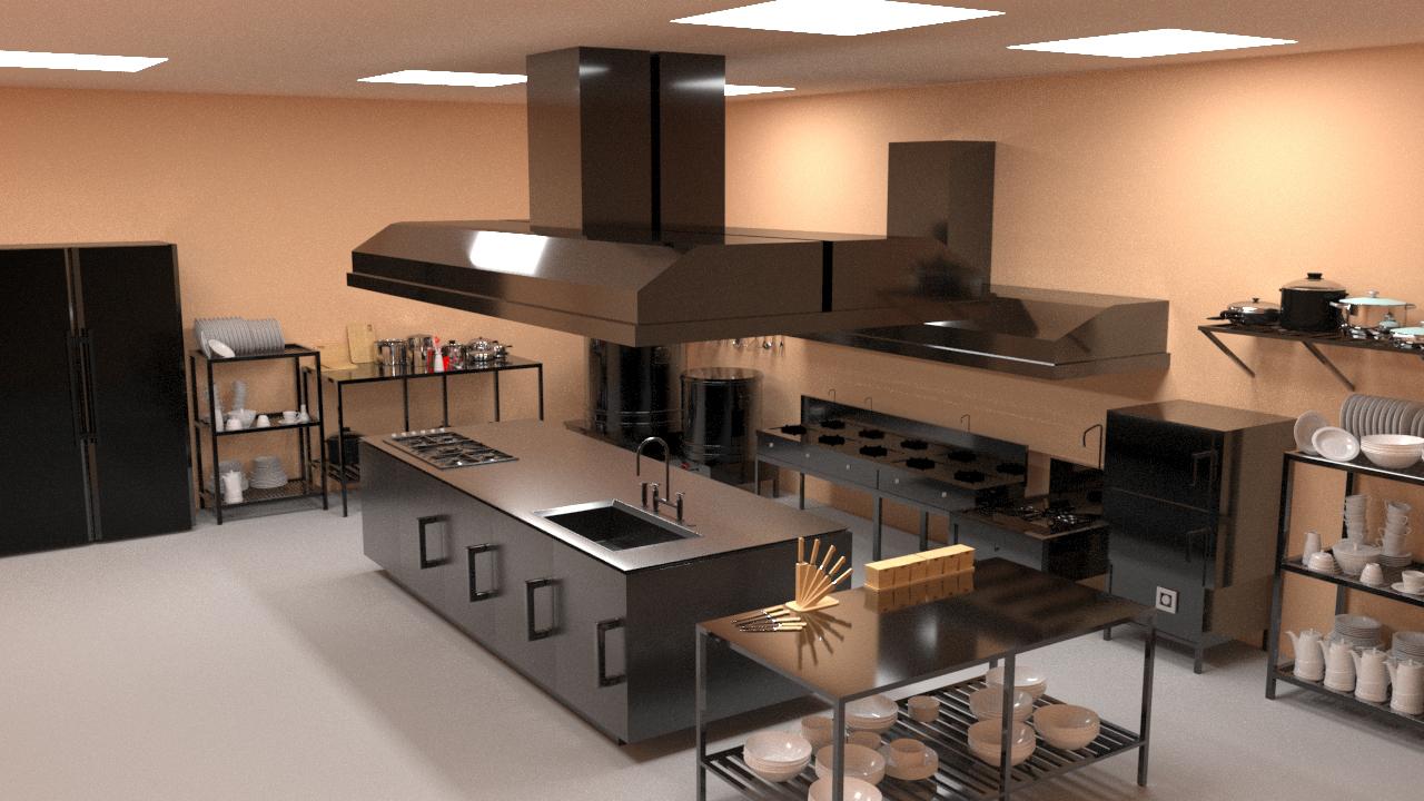 bản vẽ 3D thiết kế bếp nhà hàng