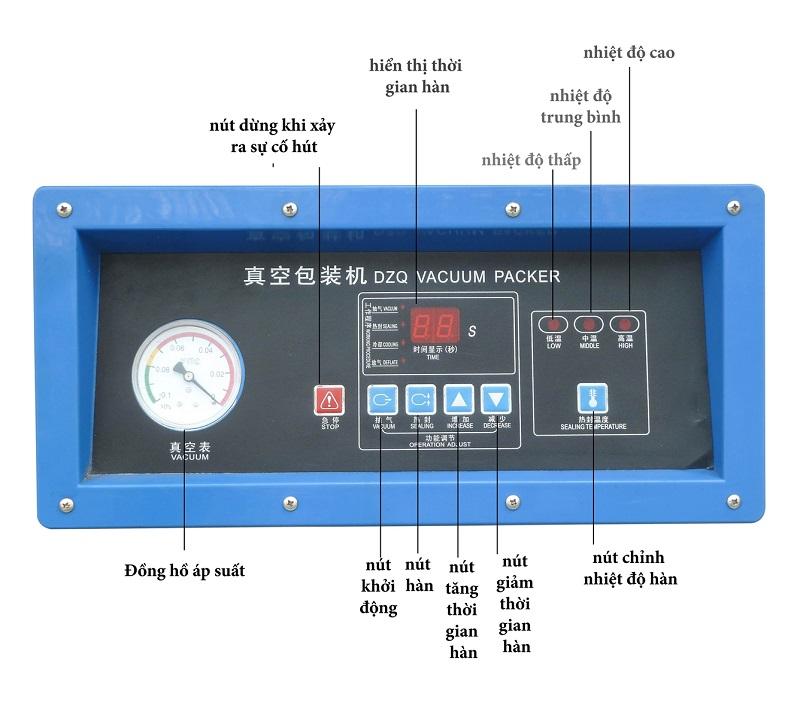 bảng điều khiển máy đóng gói hút chân không công nghiệp DZ500