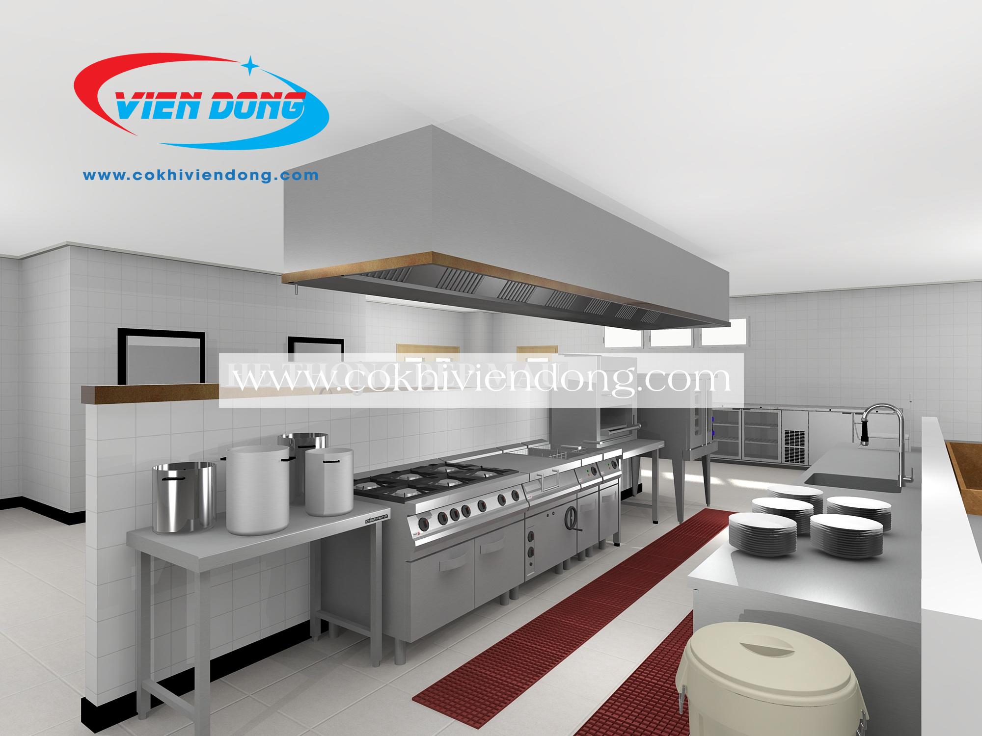 bản vẽ 3d bếp nhà hàng